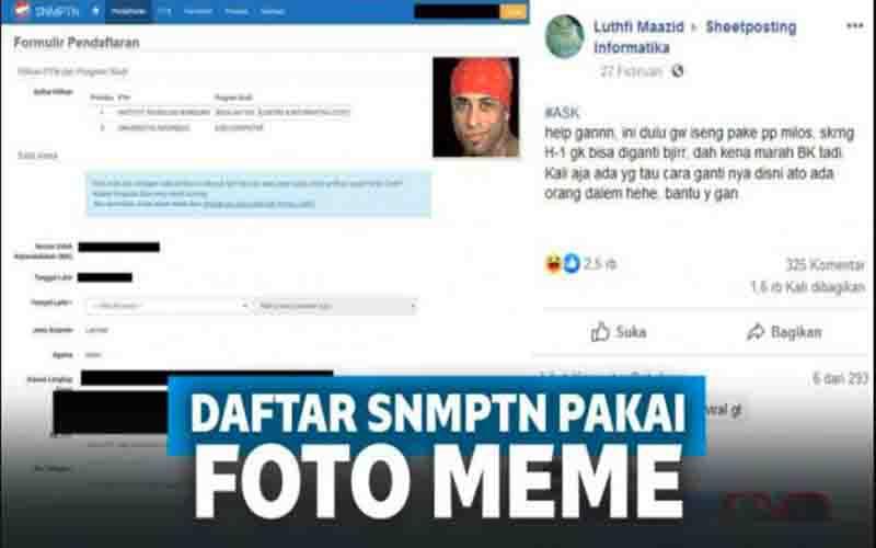 Viral Siswa Daftar SNMPTN Pakai Foto Meme, Siapa Dia?